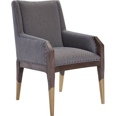 Hickory Chair Tate Arm Chair with Gilded Legs