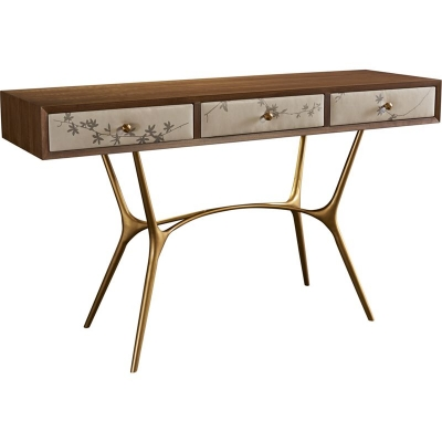 Hickory Chair Agnes Console with Leather Drawer Fronts