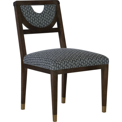 Hickory Chair Half Moon Dining Side Chair with Solid Light Gold Painted Sabots