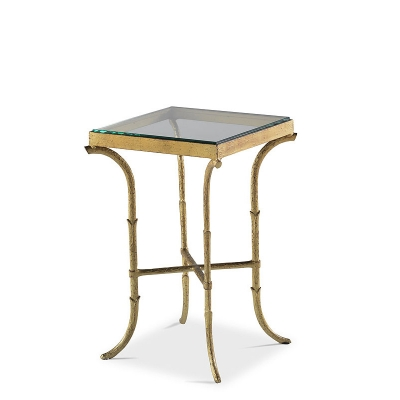 Highland House Metal Bamboo Occ Table with glass Top