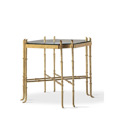 Highland House Metal Bamboo Lamp Table with glass Top