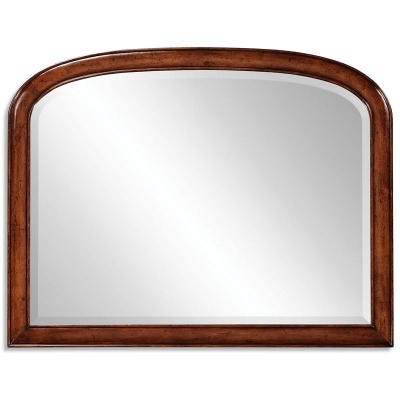 Jonathan Charles Overmantle Walnut Mirror with Curved Top