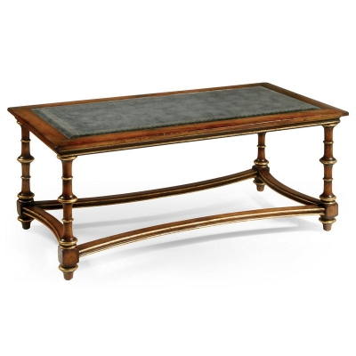Jonathan Charles Eglomise and Walnut Rectangular Coffee Table Large