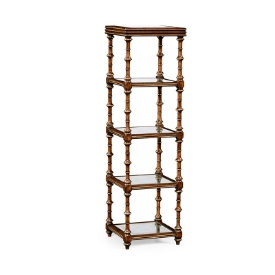 Jonathan Charles Walnut and Eglomise Five Tier Etagere