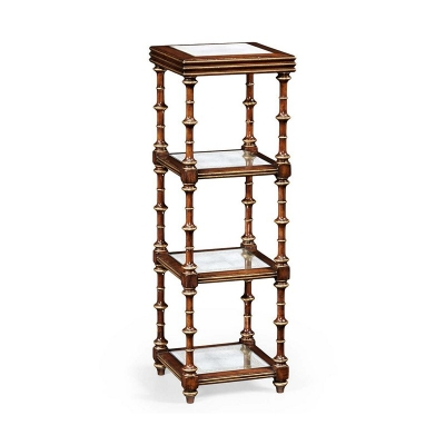 Jonathan Charles Walnut and Eglomise Four Tier Etagere