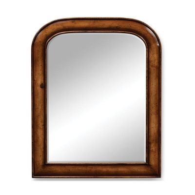 Jonathan Charles Small Walnut Mirror with Curved Top