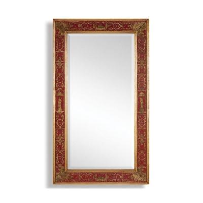 Jonathan Charles Rectangular Mirror with Gilt Renaissance Decoration Red