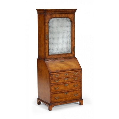 Jonathan Charles Bureau Cabinet with Eglomise Glass Door