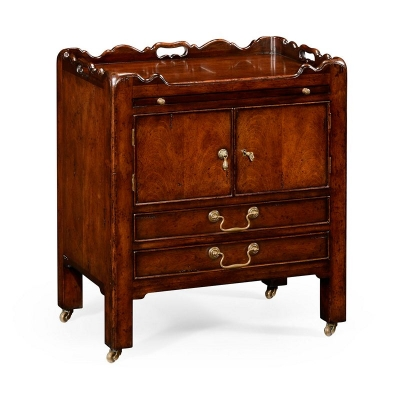 Jonathan Charles George III Style Mahogany Bedside Cabinet with Handles