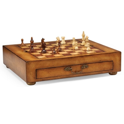 Jonathan Charles Satinwood Games Box with Drawer