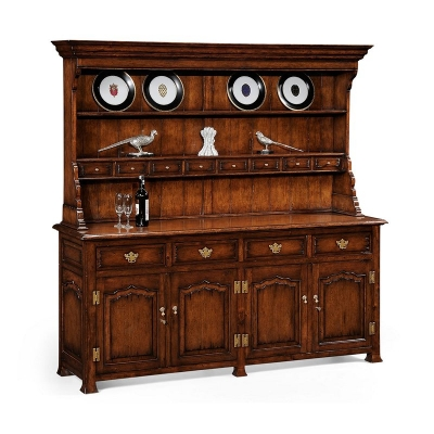 Jonathan Charles Large Walnut Welsh Dresser Without Wine Rack