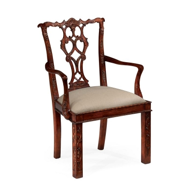 Jonathan Charles Chippendale Style Rococo Quatrefoil Chair Arm