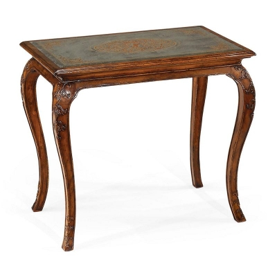 Jonathan Charles Walnut and Eglomise Cabriole Side Table