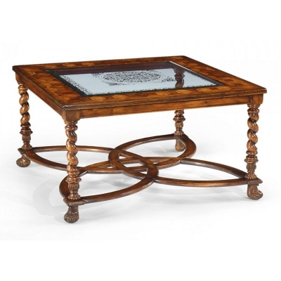 Jonathan Charles Square Oyster and Eglomise Coffee Table 40 inch