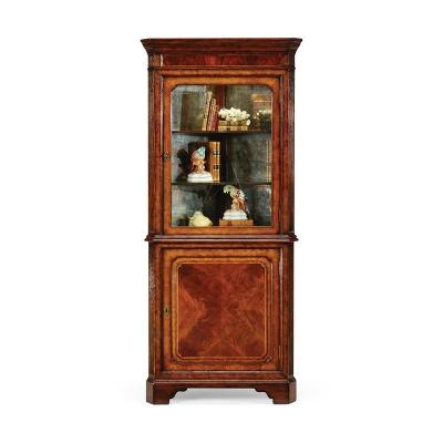 Jonathan Charles Mahogany Glazed Corner Cabinet with Cupboard