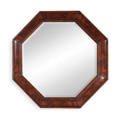Jonathan Charles Small Octagonal Crotch Mahogany Mirror