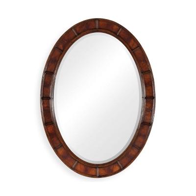 Jonathan Charles Crotch Mahogany Veneered Oval Panelled Mirror
