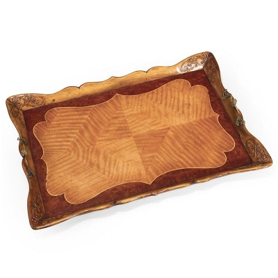 Jonathan Charles Satinwood Carved Rectangular Tray