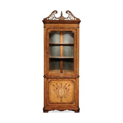 Jonathan Charles Satinwood Glazed Corner Cabinet