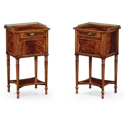 Jonathan Charles Pair of Mahogany Bedside Cabinets