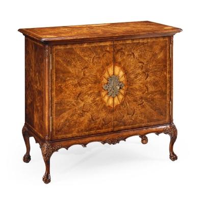 Jonathan Charles Crotch Walnut inch Flaming Veneer inch Side Cabinet