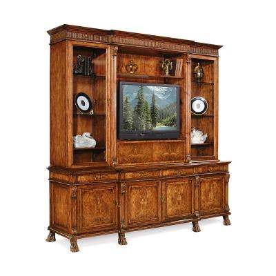 Jonathan Charles Large Breakfront Walnut TV Cabinet