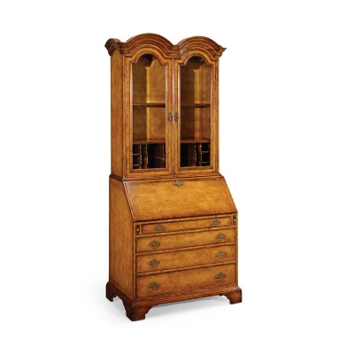 Jonathan Charles Queen Anne Bureau Cabinet with Glass Doors