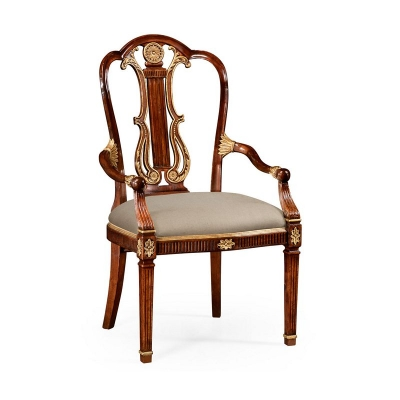 Jonathan Charles Neo Classical Gilded Lyre Back Dining Armchair