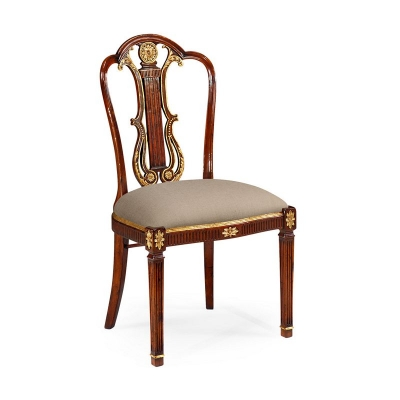 Jonathan Charles Neo Classical Gilded Lyre Back Dining Sidechair