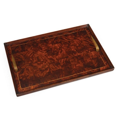 Jonathan Charles Patchwork Marquetry Art Deco Style Tray