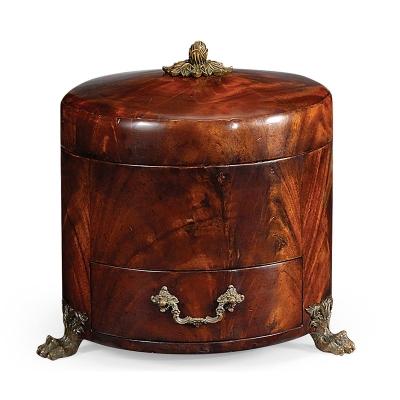 Jonathan Charles Crotch Mahogany Jewellery Round Box