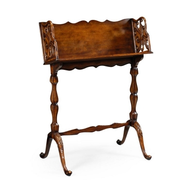 Jonathan Charles Victorian Style Floor Standing Walnut Book Trough