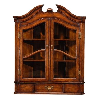Jonathan Charles Queen Anne Style Hanging Walnut Corner Cabinet