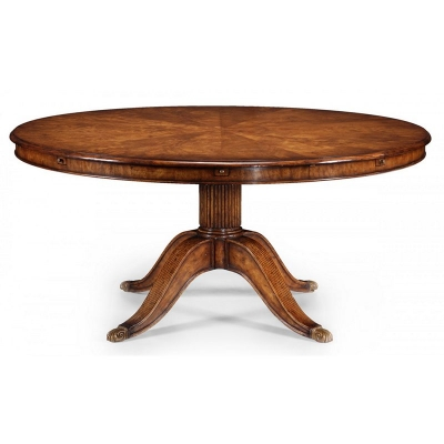 Jonathan Charles 66 inch Walnut Extending Circular Dining Table with Storage Cabinet For Leaves