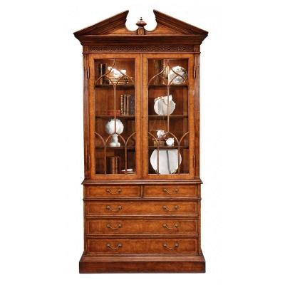 Jonathan Charles Walnut Glazed Display Cabinet with Drawers