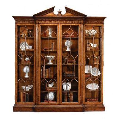 Jonathan Charles Walnut Breakfront Triple Display Cabinet Full Glazing