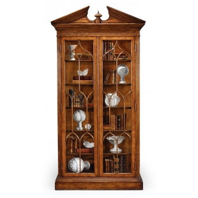 Jonathan Charles Walnut Glazed Display Cabinet Fully Glazed