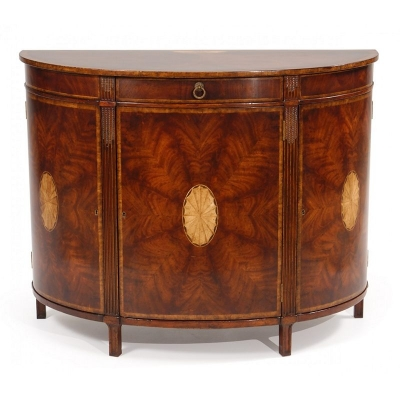 Jonathan Charles Crotch Mahogany Demilune Sideboard with Marquetry