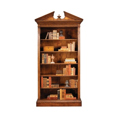Jonathan Charles Walnut Open Bookcase with Pediment