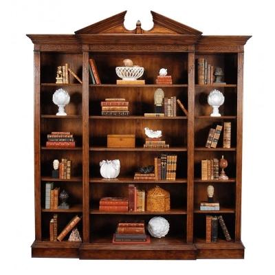 Jonathan Charles Walnut Breakfront Triple Open Bookcase