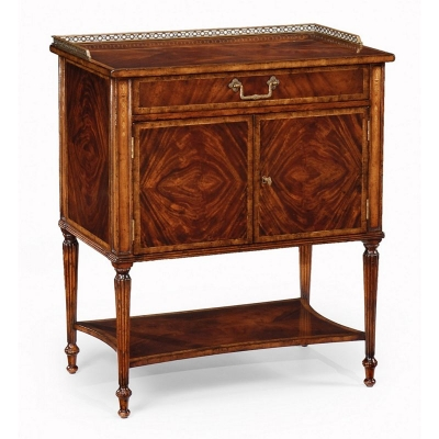 Jonathan Charles Mahogany Bedside Table with Brass Gallery