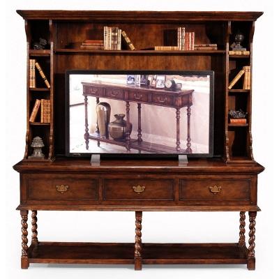 Jonathan Charles Walnut Welsh Dresser Style TV Cabinet
