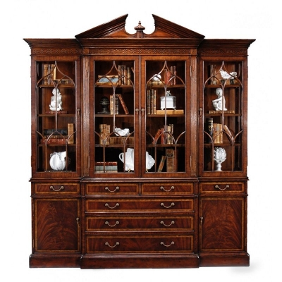 Jonathan Charles Mahogany Glazed Triple Display Cabinet Drawers To Base