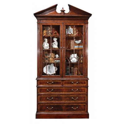 Jonathan Charles Mahogany Glazed Display Cabinet with Pediment