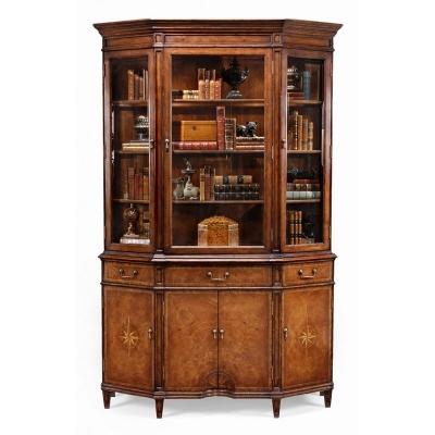 Jonathan Charles Starburst Walnut Display Cabinet