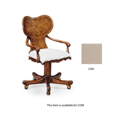 Jonathan Charles George I Style Adjustable Kidney Desk Chair In Walnut COM