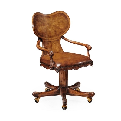 Jonathan Charles George I Style Adjustable Kidney Desk Chair Walnut