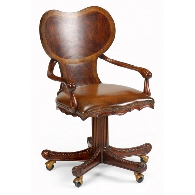 Jonathan Charles George I Style Adjustable Desk Chair Mahogany