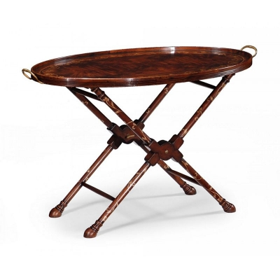 Jonathan Charles Oval Tray On Stand with Floral Inlay Mahogany