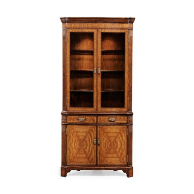 Jonathan Charles Walnut Corner China Cabinet with Serpentine Profile